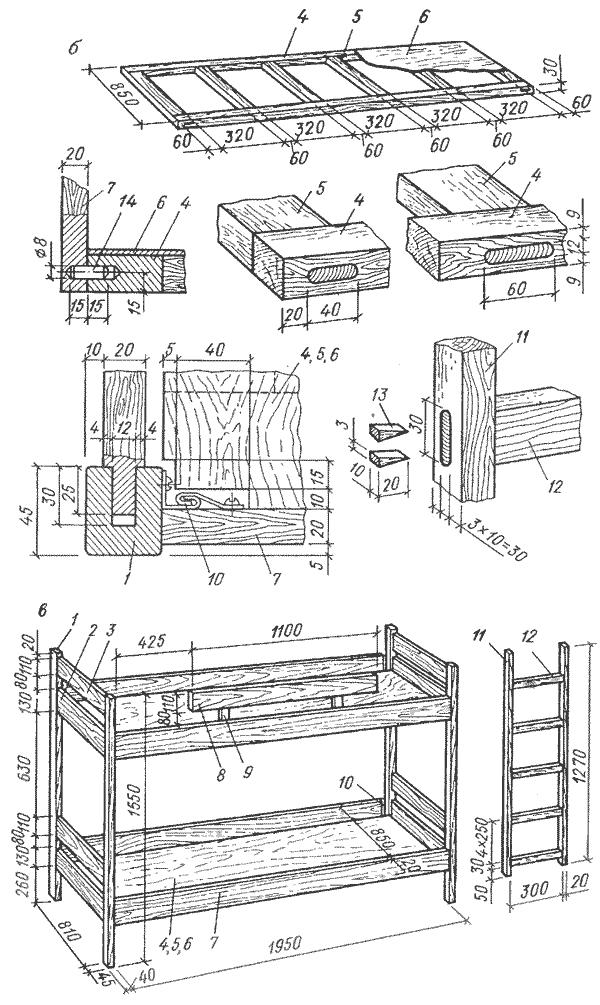 Двухъярусная кровать: б -детали и сборочные единицы, в -общий вид с размерами: 1-стойка 2, 3 - передние стенки, 4, 5...